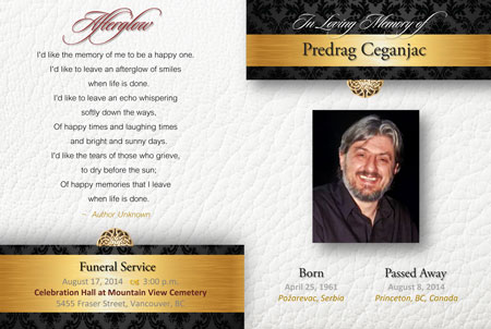 Predrag Ceganjac memorial card with Afterglow poem