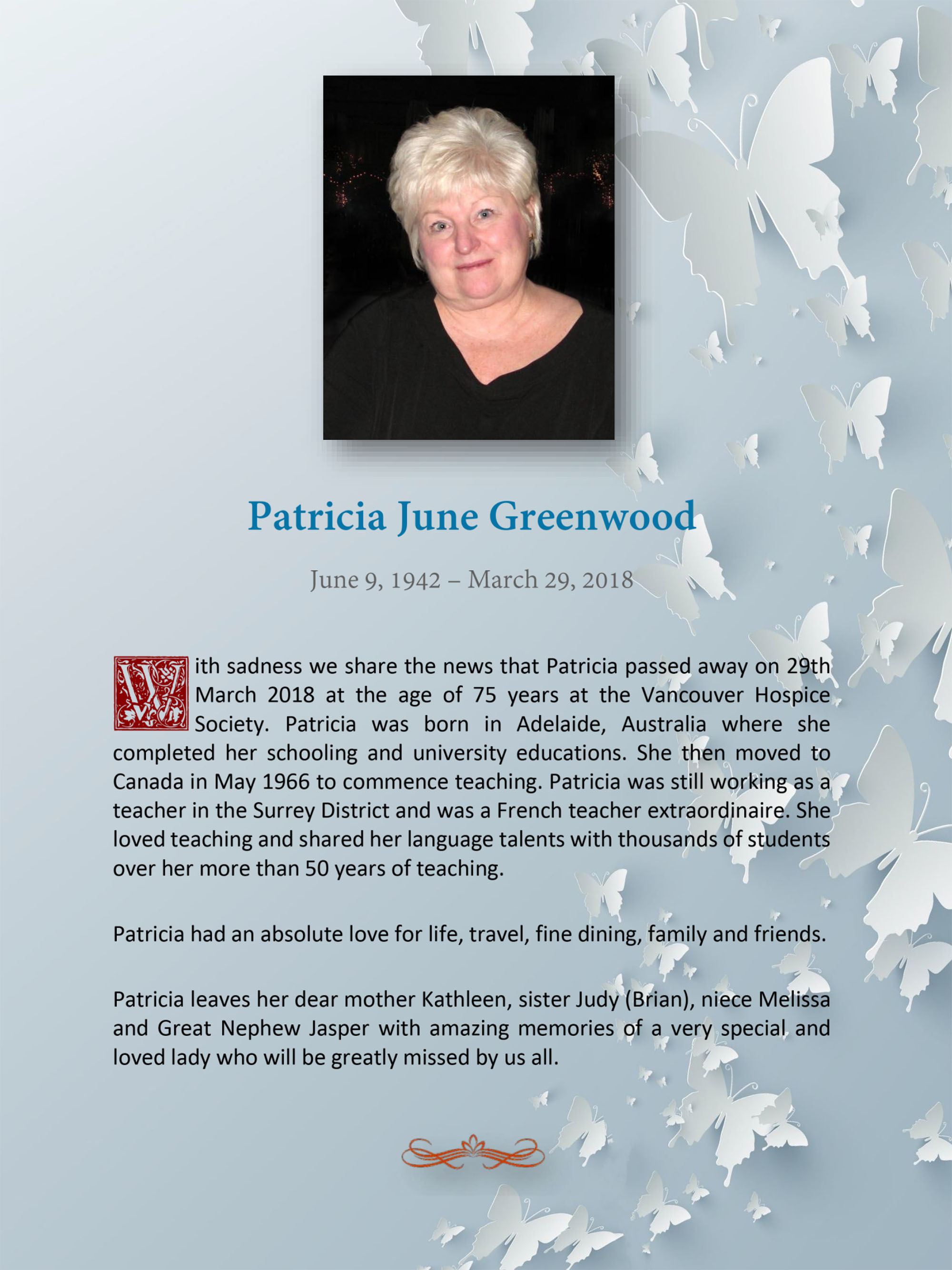 Obituary for Patricia June Greenwood