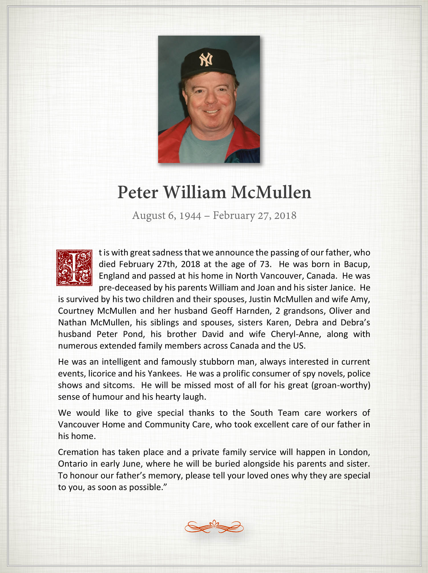Obituary for Peter William McMullen