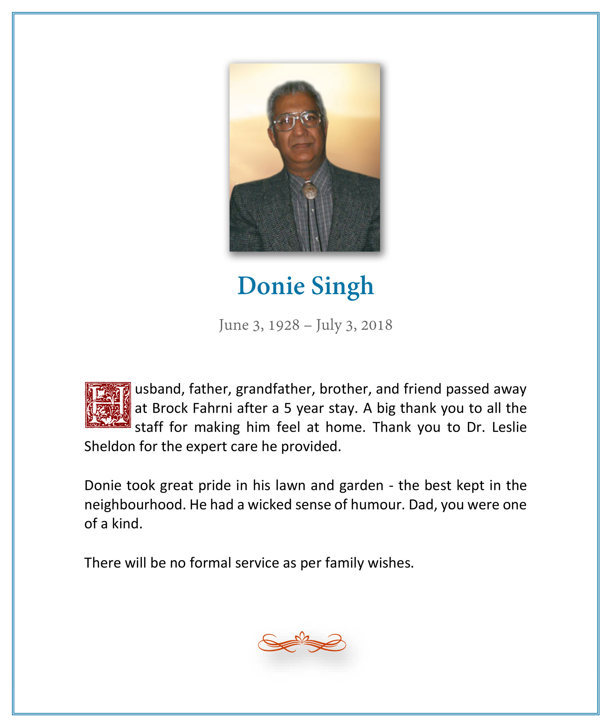Obituary for Donie Singh