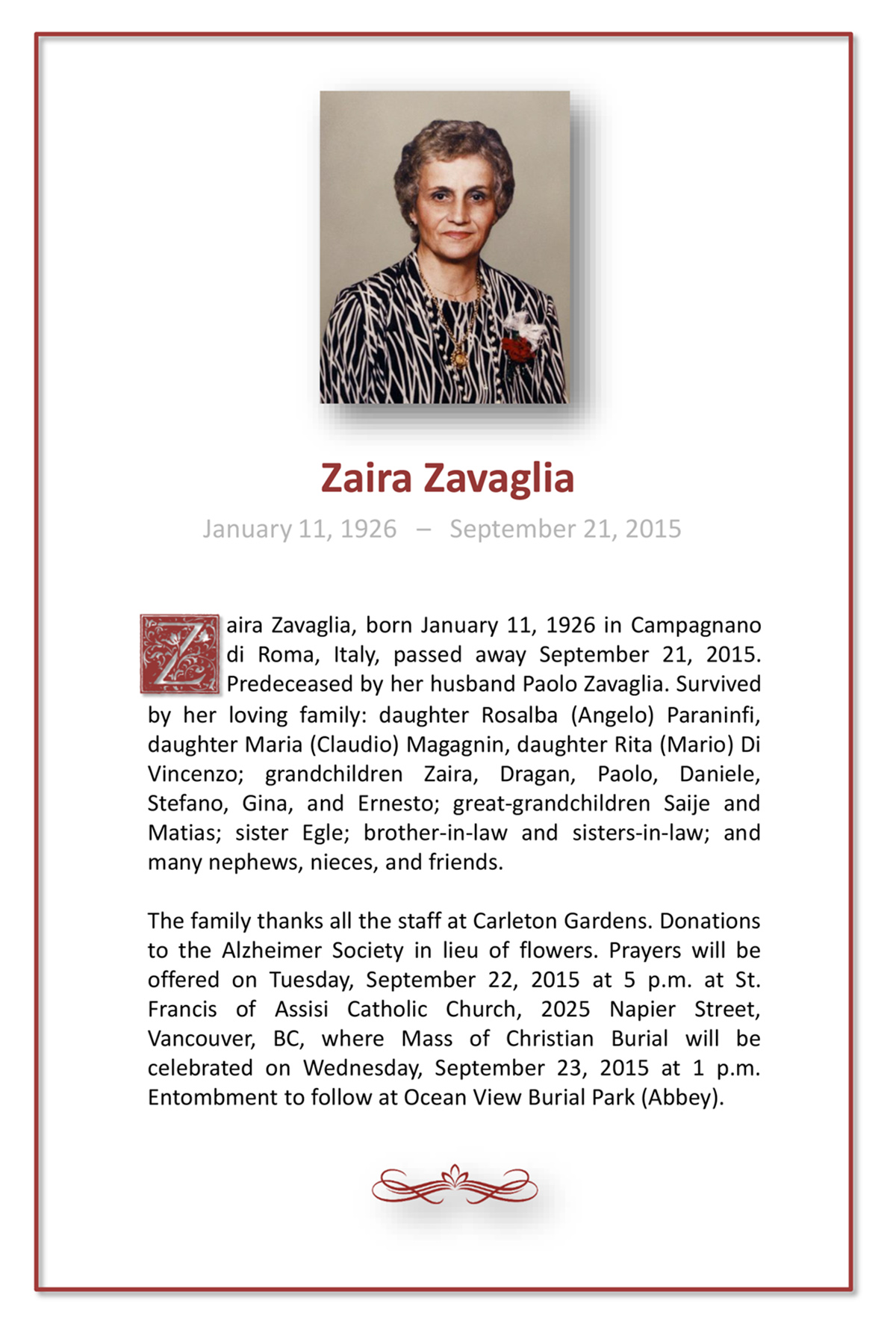 Obituary for Zaira Zavaglia Boone