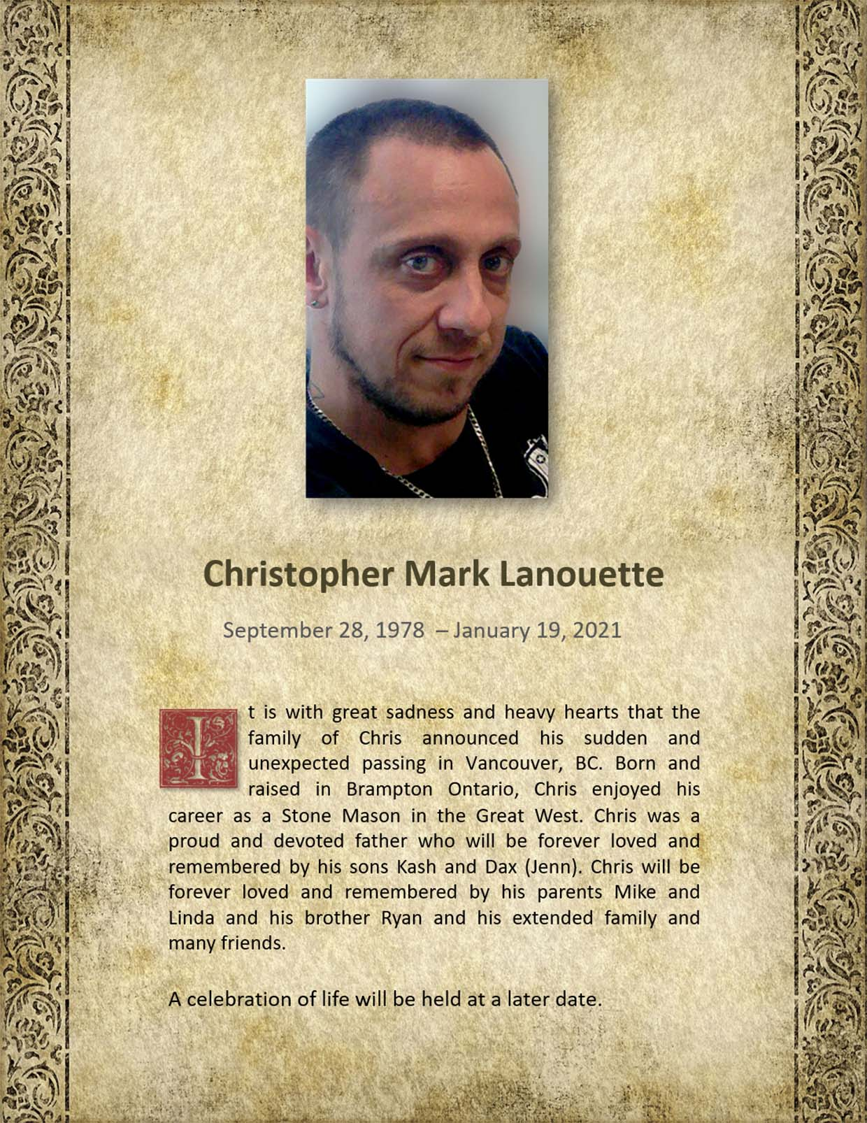 Obituary for Christopher Mark Lanouette