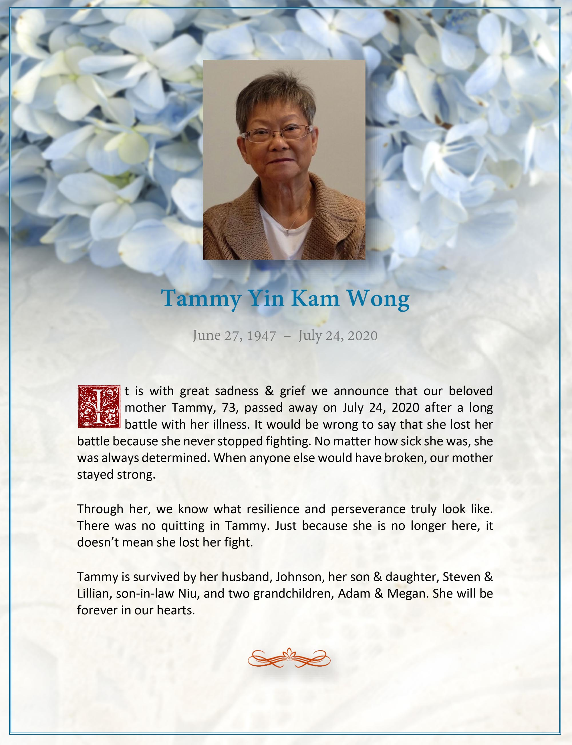 Obituary for Tammy Yin Kam Wong