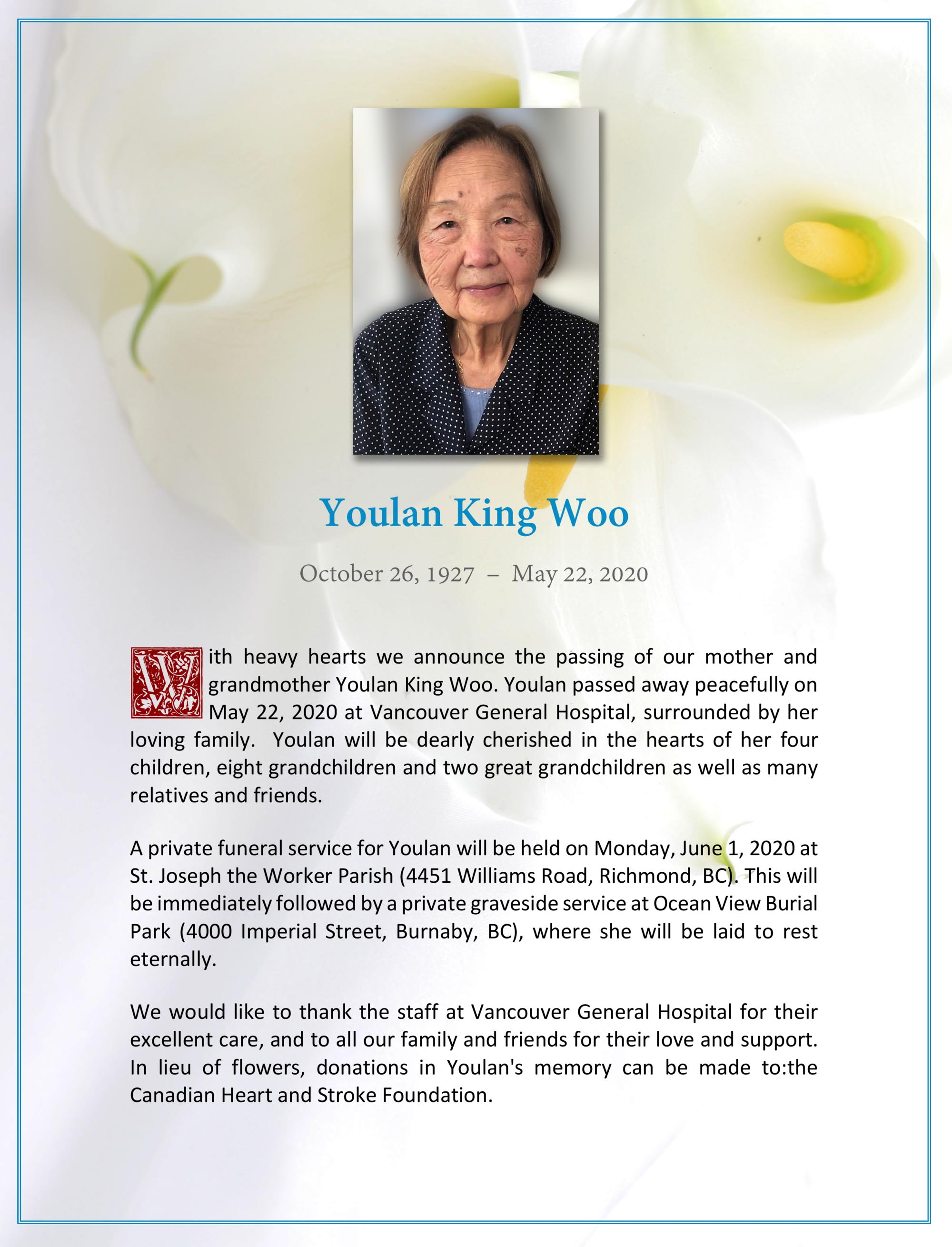 Obituary for Youlan King Woo
