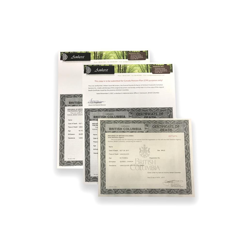 Essential Death Certificate Package